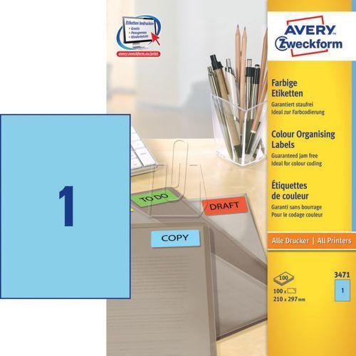 Avery zweckform Etykiety kolorowe trwałe niebieskie 210 x 297mm 100 ark./op. 347 (4004182034712)