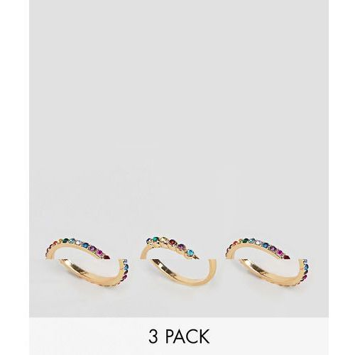 ASOS DESIGN Curve Exclusive pack of 3 rings with multicolour jewels in gold - Gold