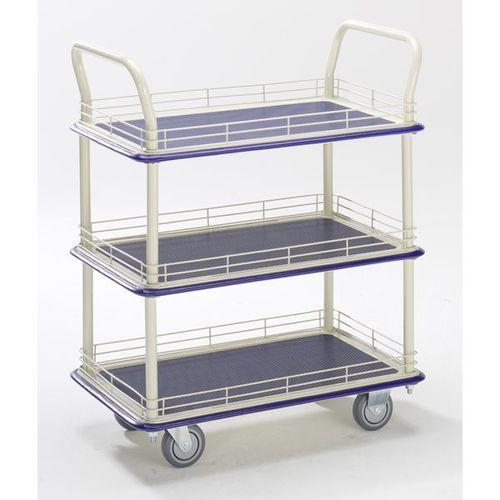Przemysłowy wózek stołowy, z trzema piętrami, nośność 300 kg. piętra z relingiem marki Seco