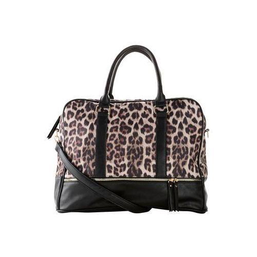 Torebka w cętki leoparda bonprix czarno-jasnobrązowo-ciemnobrązowy, kolor czarny