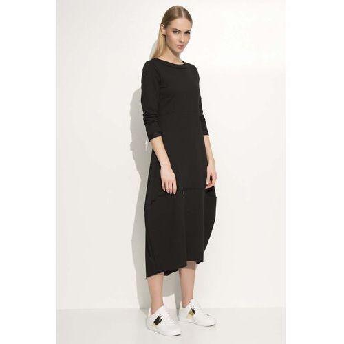 Czarna Sukienka Asymetryczna Bombka Midi z Długim Rękawem, kolor czarny