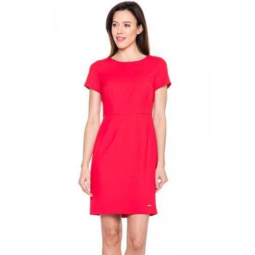 Czerwona, dopasowana sukienka - Sobora, 1 rozmiar