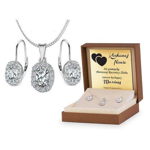 Srebrny komplet zestaw biżuterii 925 z grawerem ys11 marki Murrano