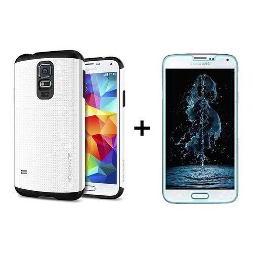 Zestaw | Spigen SGP Slim Armor Shimmery White | Oryginalna obudowa etui dla modelu Samsung Galaxy S5 / S5 Neo (Futerał telefoniczny)
