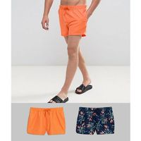 ASOS Swim Shorts In Navy And Floral Print In Short Length 2 Pack SAVE - Multi, w 2 rozmiarach