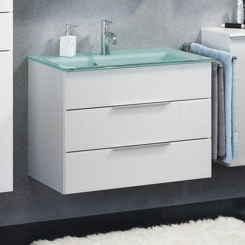 Fackelmann Biała szafka łazienkowa z miętową umywalką i podświetleniem kara 80 cm