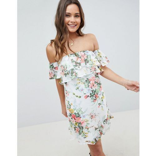 Parisian off shoulder tiered dress in floral print - white