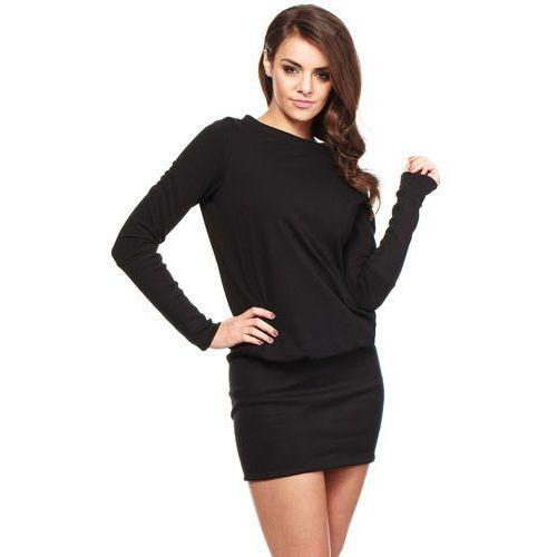 Czarna Dzianinowa Zbluzowana Sukienka z Długim Rękawem, E143bl
