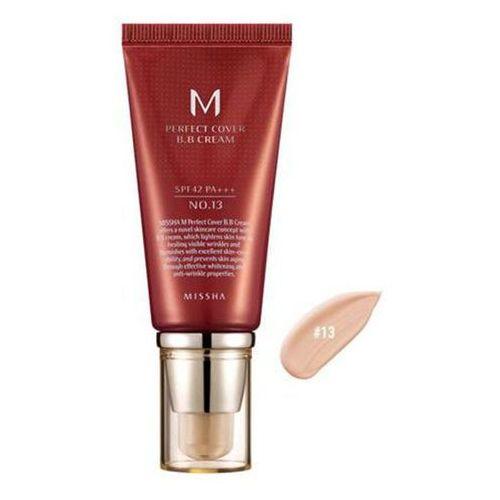 Missha krem BB No. 13 M Perfect Cover z wysoką ochroną UV odcień Light Beige SPF42/PA+++ 50 ml, MISKR150