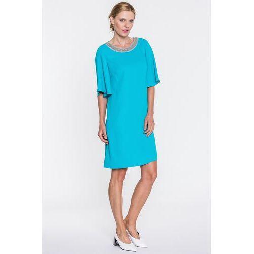Seledynowa sukienka z ozdobnym dekoltem - L'ame De Femme, 1 rozmiar