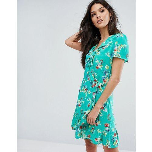 wrap front floral print tea dress - green marki Mango
