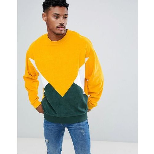oversized sweatshirt in towelling with colour blocking - yellow, Asos design, M-XXL