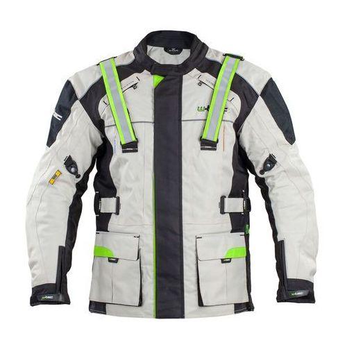 Męska długa kurtka wodoodporna motocyklowa nf-2215, beżowo-czarno-zielony, m marki W-tec