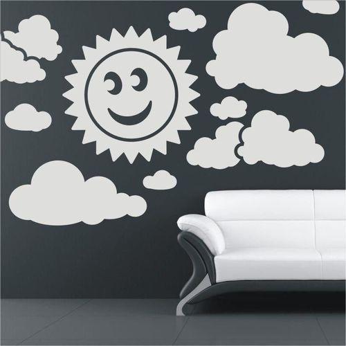 naklejka welurowa zestaw słońce chmurki 1400
