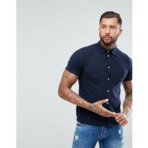 boohooMAN Regular Fit Short Sleeved Pique Shirt In Navy - Navy, kolor szary