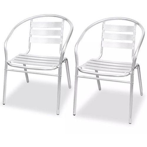 vidaXL Krzesła składane w stos, 2 szt., aluminium (8718475569657)