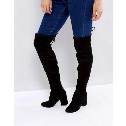 New Look Velvet Over the Knee Block Heeled Boot with Tie Back - Black, kolor czarny