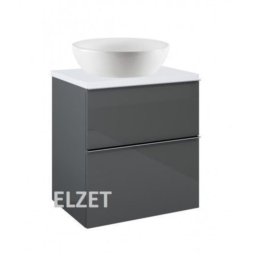 Elita szafka look 2s anthracite pod umywalkę nablatową + blat 60 white 167078+166890