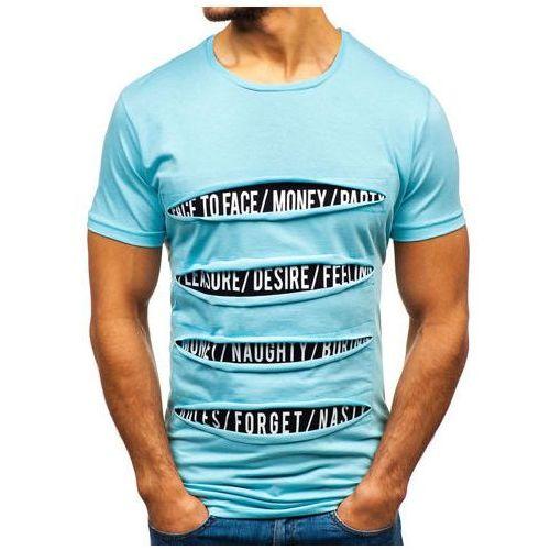 T-shirt męski z nadrukiem turkusowy 1881, Bolf