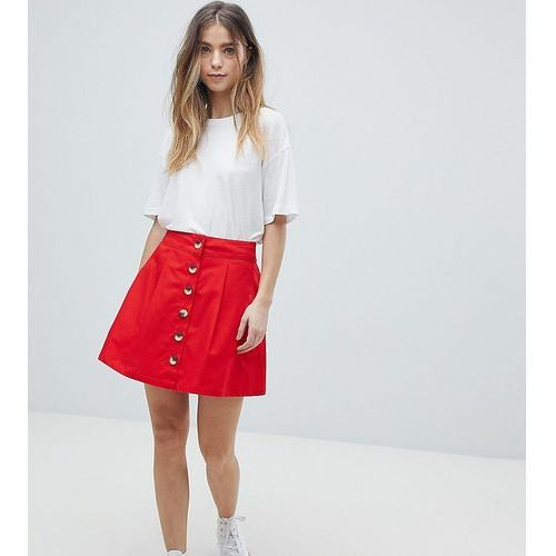 ASOS DESIGN Petite cotton mini skater skirt with button front - Red, kolor czerwony