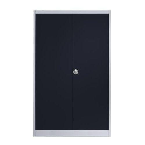 Szafa stalowa z drzwiami skrzydłowymi, 4 półki, szer. 1200 mm, biały aluminium /