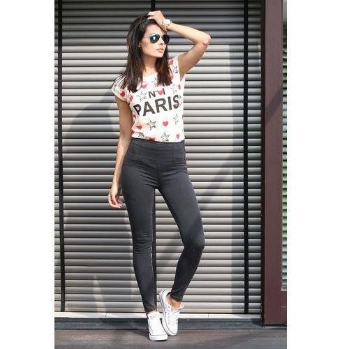 """Spodnie dżinsowe wyszczuplające z wysokim stanem grafitowe """"Model Q521"""", jeansy"""