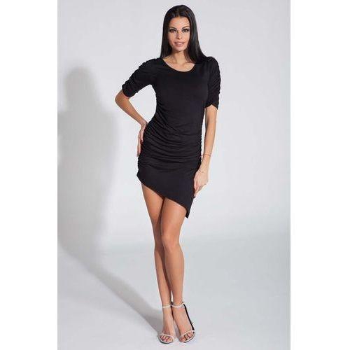 Czarna Sukienka Asymetryczna z Ozdobnym Drapowaniem, w 2 rozmiarach