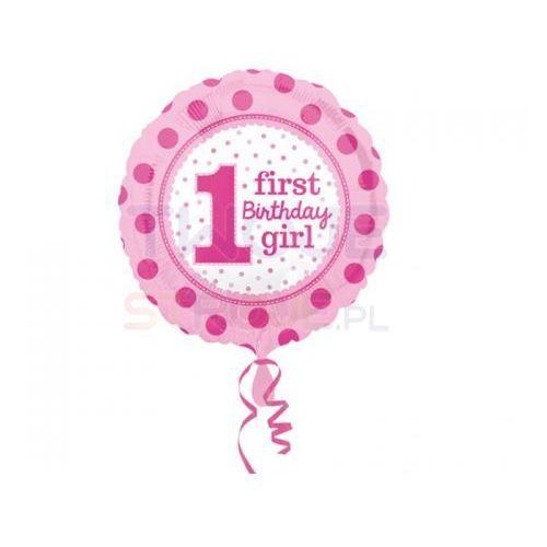 Twojestroje.pl Balon 1st b-day girl groszki róż 17'' 43cm