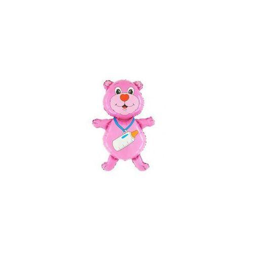 Balon foliowy Miś różowy z butelką - 58 x 79 cm - 1 szt. (8057680301271)