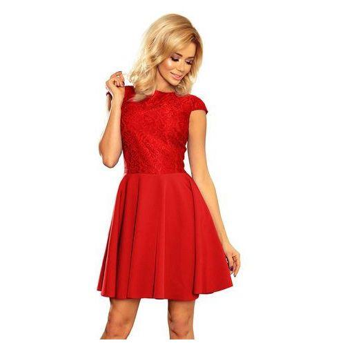 Czerwona sukienka elegancka rozkloszowana z koronką, Numoco, 38-44