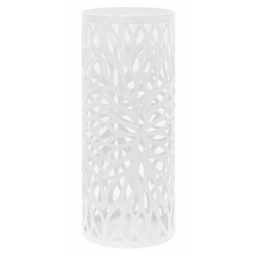 Biały ażurowy metalowy stojak na parasole - Kaspo, vidaxl_246803
