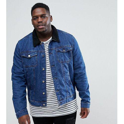 plus denim jacket with borg collar - blue marki Another influence