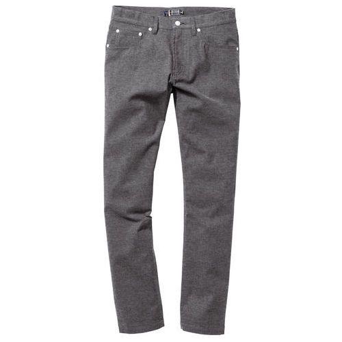 Spodnie z 5 kieszeniami, w optyce flaneli, regular fit antracytowy melanż, Bonprix