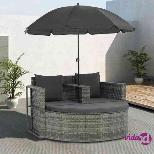 Vidaxl 2-osobowa sofa z poduszkami i parasolem, polirattan, szara (8718475621812)
