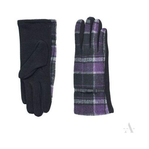 Evangarda Damskie rękawiczki w klasyczną czarno-fioletową kratę - czarny   fioletowy