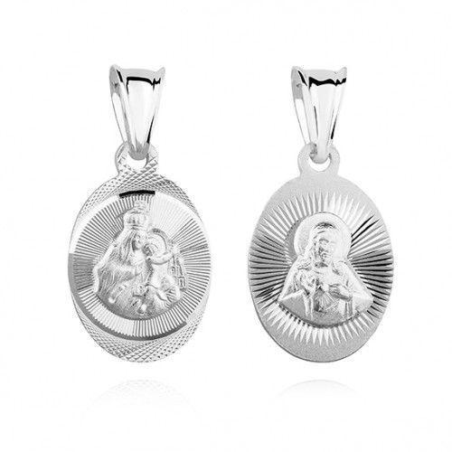 Produkt polski Srebrny medalik jezus / matka boska szkaplerzna