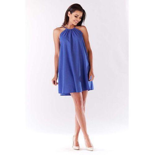 Niebieska Trapezowa Sukienka Koktajlowa z Dekoltem Halter-neck, w 4 rozmiarach