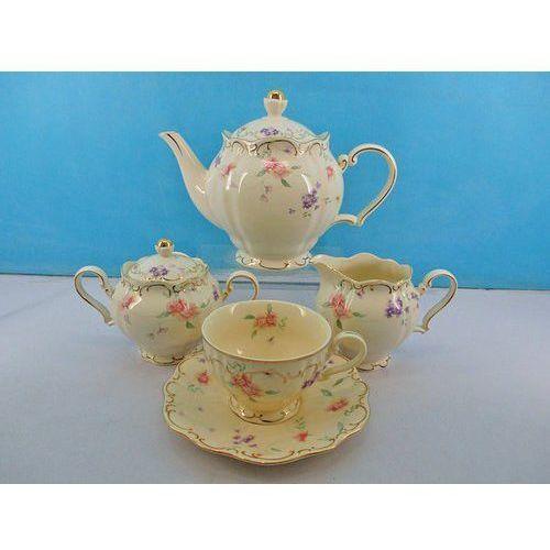 Serwis do herbaty - czajnik. cukiernica. mlecznik. 6 filiżanek ze spodkami