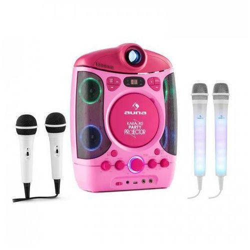 Kara Projectura zestaw do karaoke różowy + Kara Dazzl zestaw mikrofonów LED
