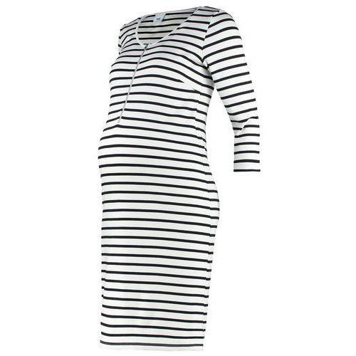 MAMALICIOUS MLCARLA LIA Sukienka z dżerseju snow white/black, kolor biały