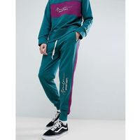 Mennace Retro Joggers In Teal With Logo - Green, w 4 rozmiarach