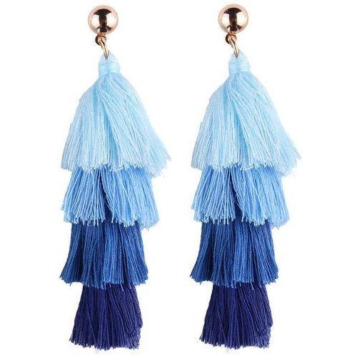 KOLCZYKI frędzle CHWOST długie. niebieskie - BLUE ||PRM, kolor niebieski