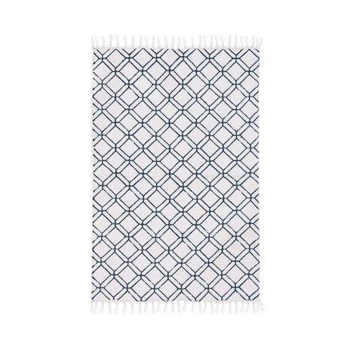 Dywan bawełniany DONATELLA biało-niebieski 60 x 90 cm INSPIRE (3276000630777)