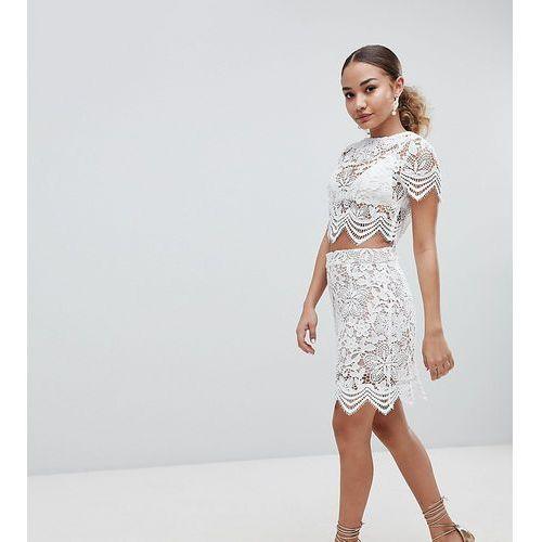 Boohoo Scallop Trim Lace Mini Skirt - Cream