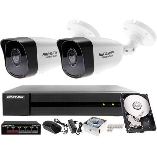Monitrong sklepu, magazynu IP podglad on-line Hikvision Hiwatch Rejestrator IP HWN-4104MH + 2x Kamera 4MP HWI-B140H-M+ Akcesoria, ZM10565