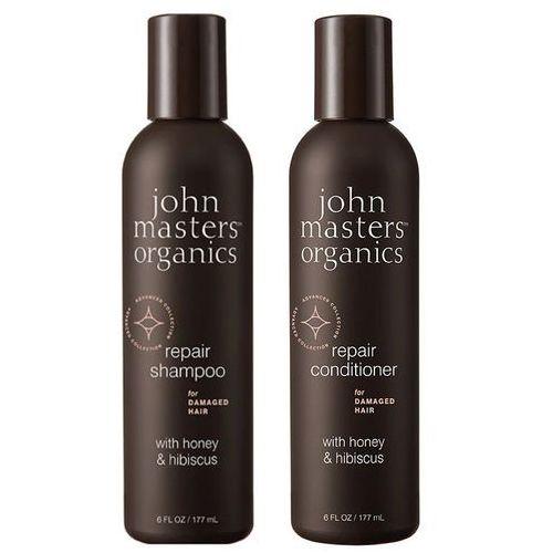 John masters organics honey and hibiscus | zestaw regenerujący: szampon 177ml + odżywka 177ml (9753197531617)