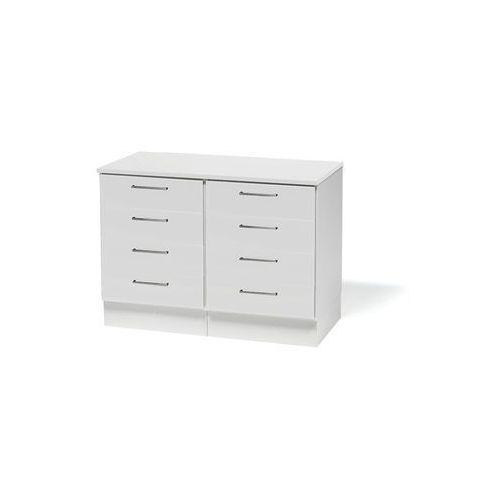Podwójna szafka z szufladami oraz blatem. korpus: biały wykończenia: białe marki Aj