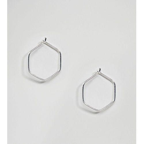 sterling silver mini hexagon hoop earrings - gold marki Kingsley ryan