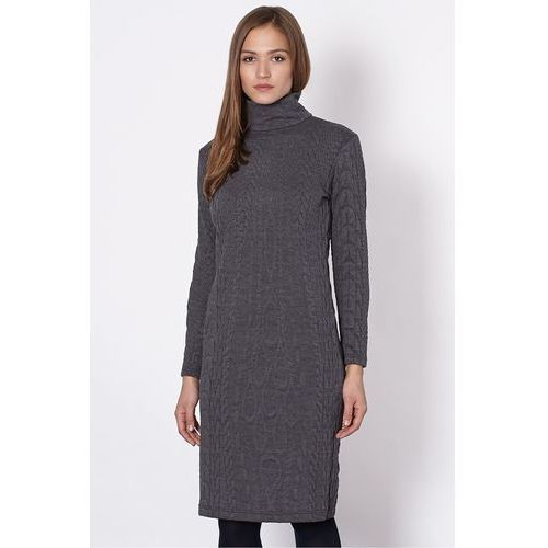Szara sukienka z golfem - Click Fashion