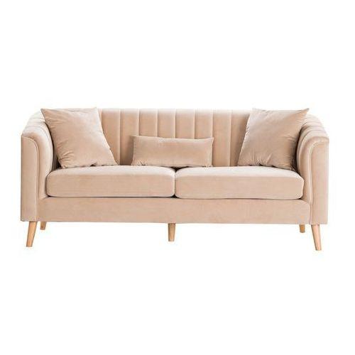 Dekoria Sofa Meriva Velvet nugat beige 3-os., 200×80×85cm, kolor beżowy